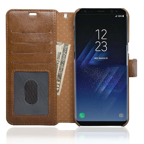 NAVOR Zevo Samsung Galaxy S8 Plus Wallet Case Slim Fit Light Premium Flip Cover with RFID Protection-Brown