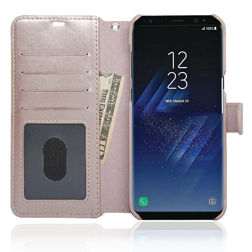 NAVOR Zevo Samsung Galaxy S8 Plus Wallet Case Slim Fit Light Premium Flip Cover with RFID Protection-Rose Gold
