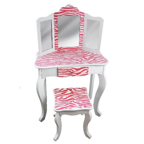 Teamson Kids   Zebra Vanity Table U0026 Stool Set