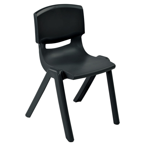 "ECR4Kids 18"" Resin Stack Chair - Black, 4 Pack"