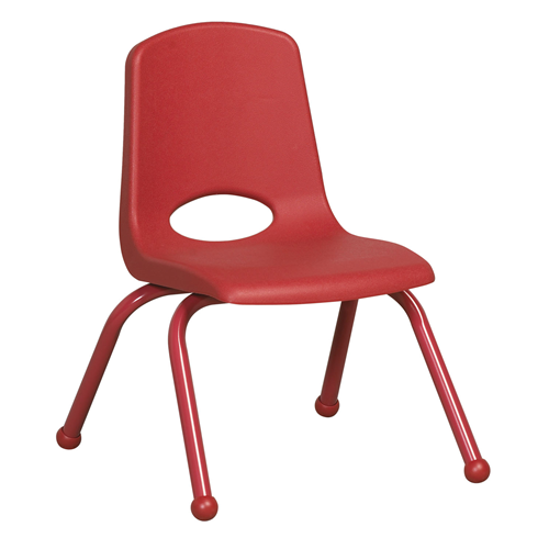 """ECR4Kids 12"""" Stack Chair - Matching Legs Red, 6 Pack"""