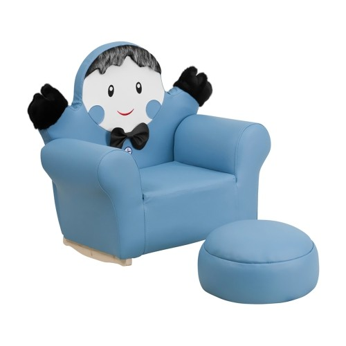 Kids Blue Little Boy Rocker Chair and Footrest [HR-28-GG]