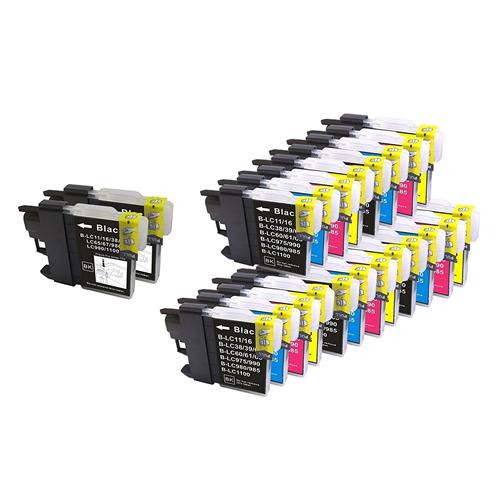 22x Imprimieux Ink Cartridge LC61 LC65 7BK 5C 5M 5Y Compatible with Brother DCP-145C 165C 185C 195C 197C 365CN 375CW 385C 390C