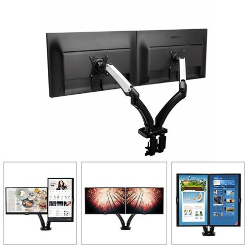 "Boost Universal DM180 Dual Monitor Gas-Strut Desktop Flexi Mount for Screens 17"" to 27"""