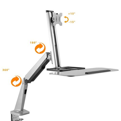 "Boost Industries DM-1332T Single Display Sit-Stand Workstation Desk Mount for 13"" - 32"" LED/LCD Screens Bundle"