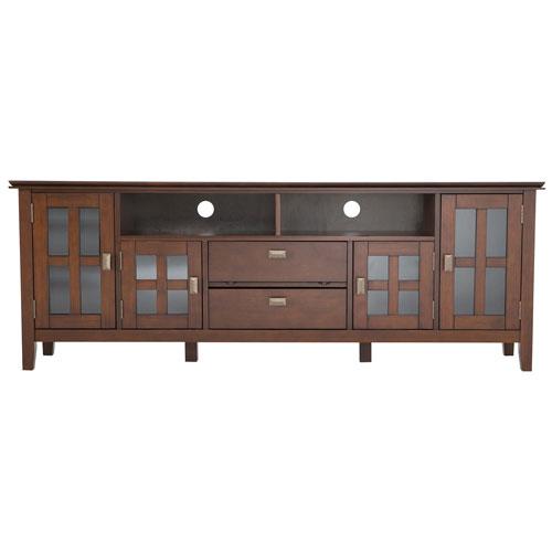 Tr s large meuble artisan pour t l viseur de 80 po rouge for Meubles pour televiseur