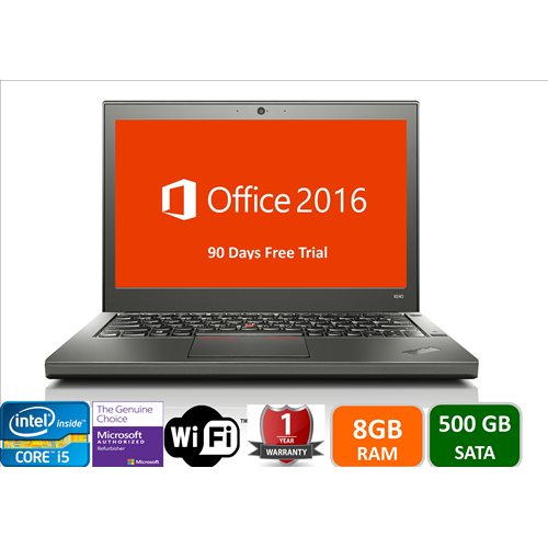 "Lenovo X240, Intel i5-4300U-1.9, 8GB memory, 500gb hard drive, 12"", Win10 Pro, 1YW-Refurbished"