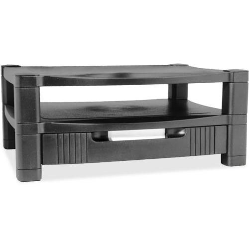Kantek MS480 2 Level Stand- Removable Drawer- 17w x 13 1/4d x 3 to 6 1/2h- Black