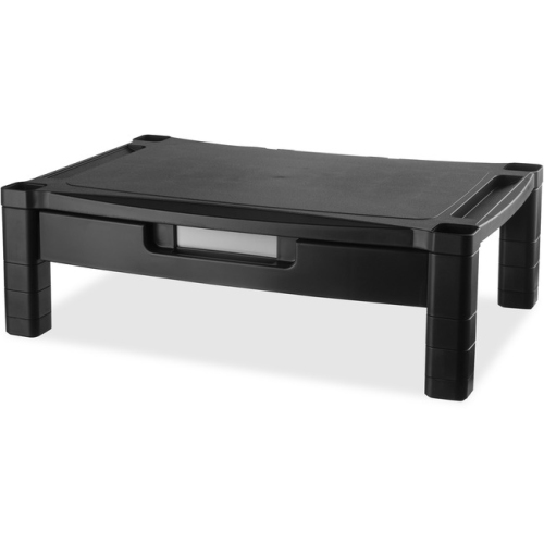 Kantek MS520 Wide Two-Level Stand with Drawer Height-Adjustable 20 x 13 .25 Black