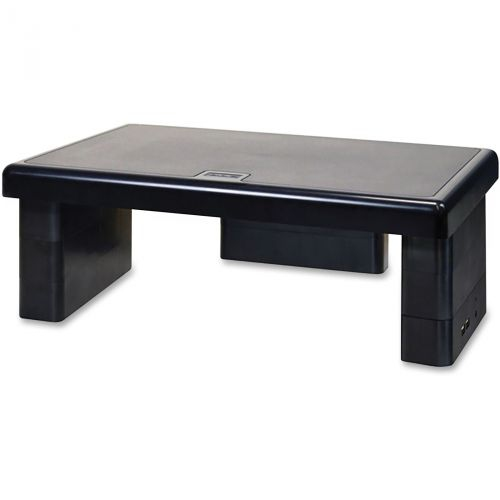 First Base DTA02159 USB Hub Monitor Stand - Black