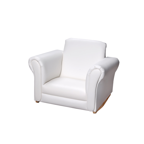 Gift Mark Upholstered Rocking Accent Chair - White