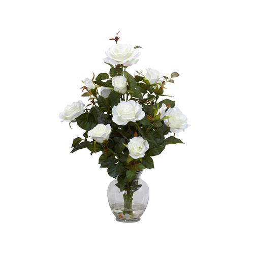 Rose bush wvase silk flower arrangement white artificial flowers rose bush wvase silk flower arrangement white artificial flowers plants best buy canada mightylinksfo