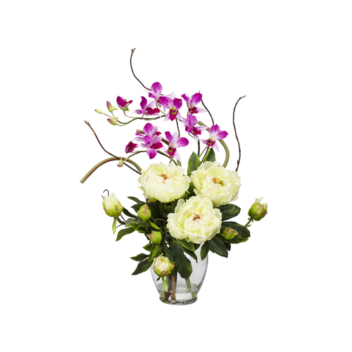 Peony orchid silk flower arrangement white artificial flowers peony orchid silk flower arrangement white artificial flowers plants best buy canada mightylinksfo