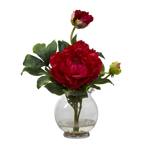 Peony Wfluted Vase Silk Flower Arrangement Red Artificial Flowers