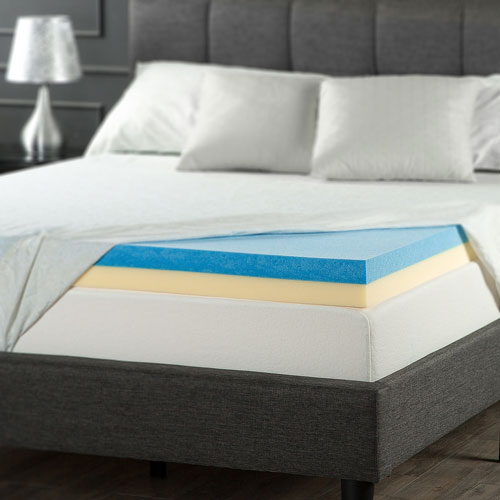 "Zinus 4"" Gel Memory Foam Mattress Topper - Queen ..."