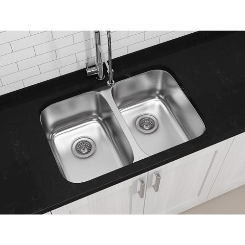 Ancona 32 In Undermount Stainless Steel 50 50 Double Basin Kitchen Sink
