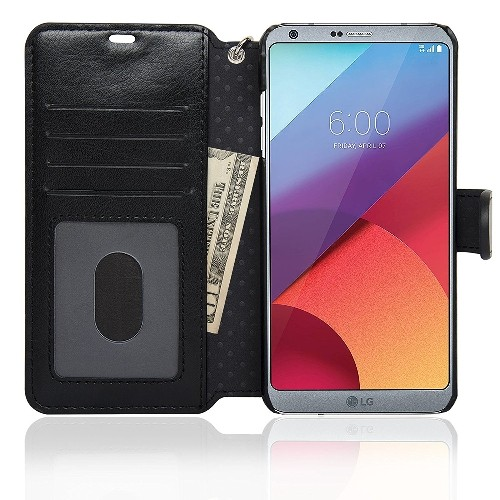 NAVOR Zevo LG G6 Wallet Case Slim Fit Light Premium Flip Cover with RFID Protection - Black (G6-BK)