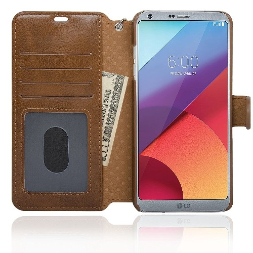 NAVOR Zevo LG G6 Wallet Case Slim Fit Light Premium Flip Cover with RFID Protection - Brown (G6-BR)
