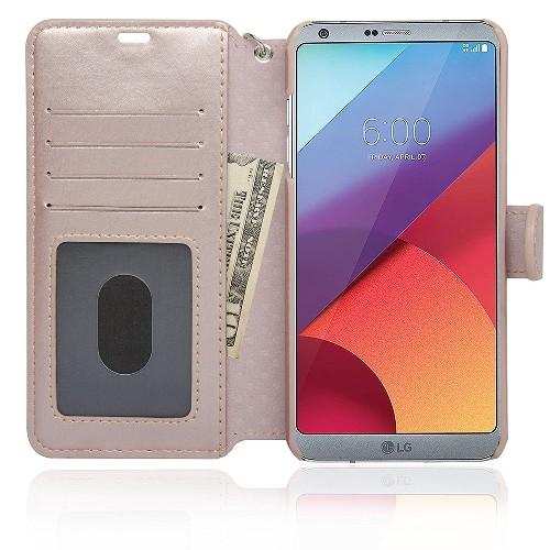 Navor Wallet Case for LG G6 - Rose Gold