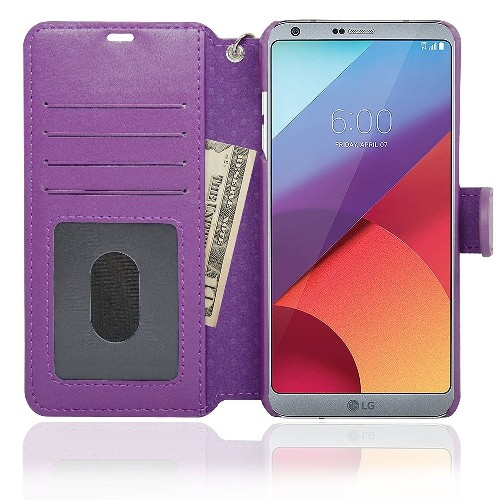 NAVOR Zevo LG G6 Wallet Case Slim Fit Light Premium Flip Cover with RFID Protection - Purple (G6-PP)