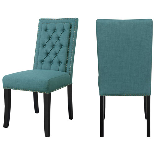 Eric Contemporary Polyester Dining Chair   Set Of 2   Teal   Online Only