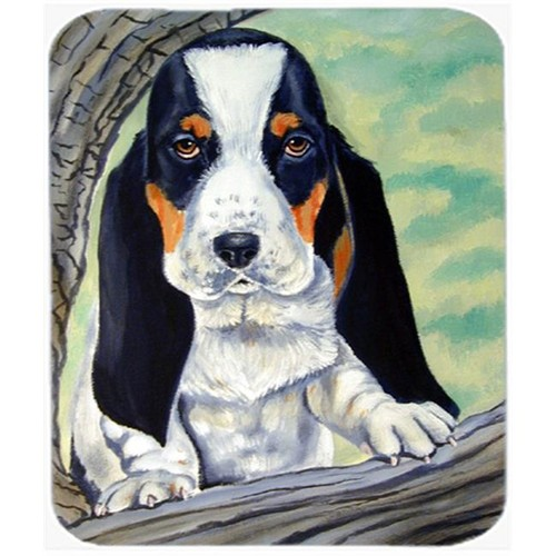 Carolines Treasures 7002MP 9.5 x 8 in. Basset Hound at the Tree Mouse Pad Hot Pad Or Trivet