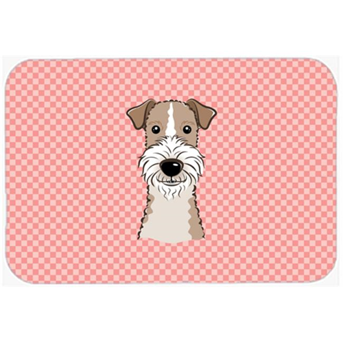 Carolines Treasures BB1247MP Checkerboard Pink Wire Haired Fox Terrier Mouse Pad Hot Pad Or Trivet 7.75 x 9.25 In.