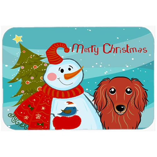 Carolines Treasures BB1834MP Snowman With Longhair Red Dachshund Mouse Pad Hot Pad & Trivet