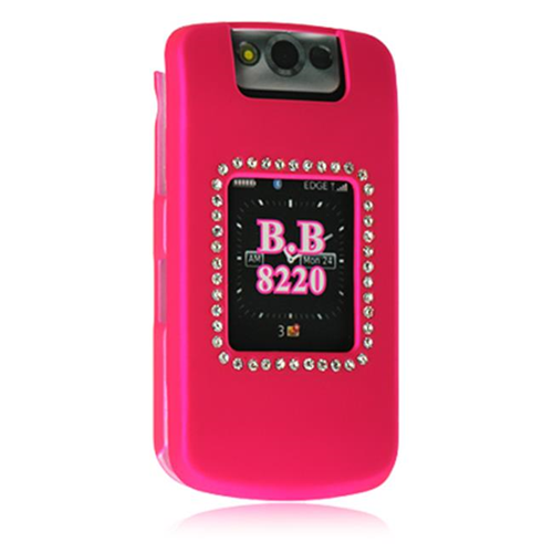 DreamWireless DRBB8220HP Blackberry Kickstart 8220 Rubber Diamond Case Hot Pink