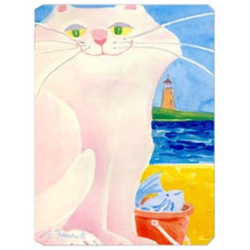 Carolines Treasures 6018MP 9.5 x 8 in. White Cat by the Lighthouse Mouse Pad Hot Pad Or Trivet