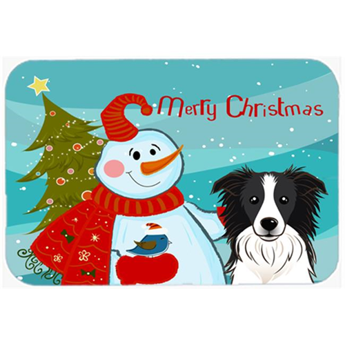 Carolines Treasures BB1861MP Snowman With Border Collie Mouse Pad Hot Pad & Trivet