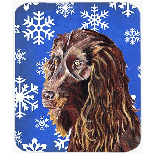 Carolines Treasures SC9602MP 7.75 x 9.25 in. Boykin Spaniel Blue Snowflake Winter Mouse Pad Hot Pad or Trivet