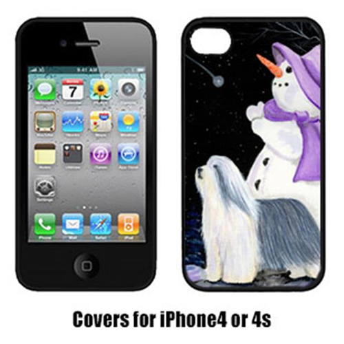 Carolines Treasures SS8947IP4 Snowman With Bearded Collie Cell Phone Cover Iphone4