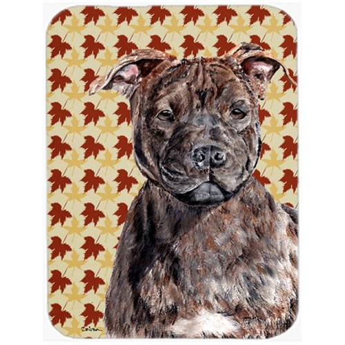 Carolines Treasures SC9681MP Staffordshire Bull Terrier Staffie Fall Leaves Mouse Pad Hot Pad Or Trivet 7.75 x 9.25 In.