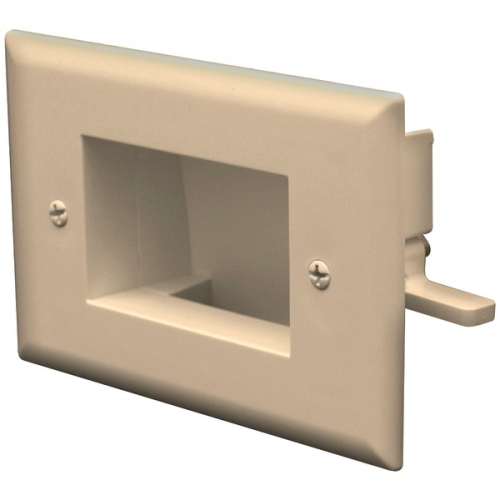 DataComm Electronics 45-0008-LA Easy Mount Recessed Low Voltage Cable Plate - Light almond