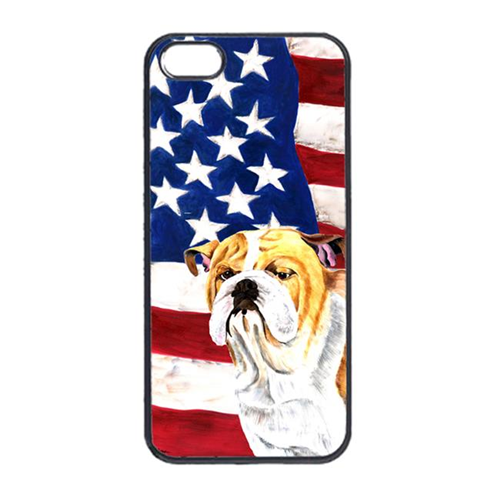 Carolines Treasures SC9002IP4 USA American Flag With Bulldog English Iphone 4 Cover