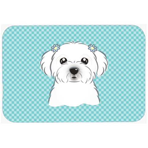 Carolines Treasures BB1146MP Checkerboard Blue Maltese Mouse Pad Hot Pad Or Trivet 7.75 x 9.25 In.