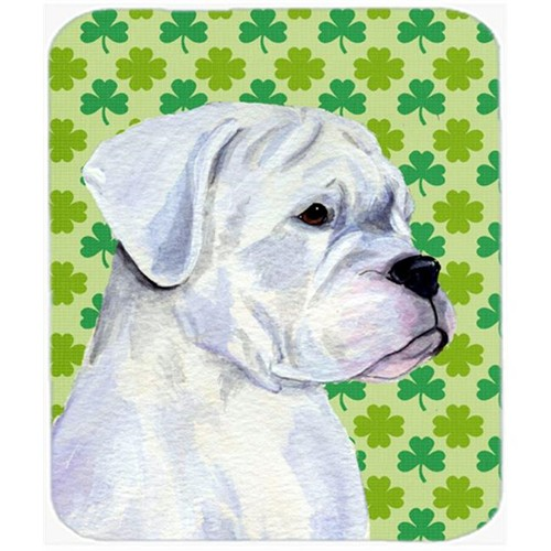 Carolines Treasures SS4440MP Boxer St. Patricks Day Shamrock Portrait Mouse Pad Hot Pad Or Trivet