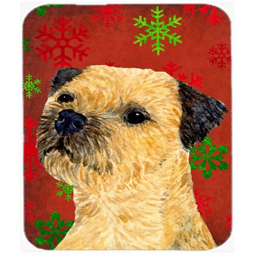 Carolines Treasures LH9323MP Border Terrier Red And Green Snowflakes Christmas Mouse Pad Hot Pad Or Trivet - 7.75 x 9.25 In.