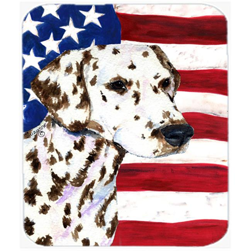 Carolines Treasures SS4225MP Usa American Flag With Dalmatian Mouse Pad Hot Pad or Trivet