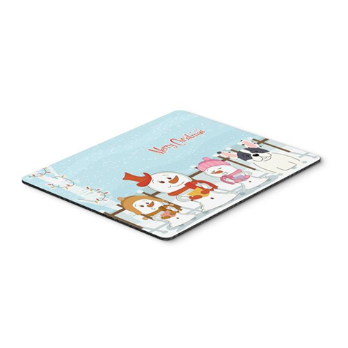 Carolines Treasures BB2342MP Merry Christmas Carolers French Bulldog Piebald Mouse Pad Hot Pad or Trivet