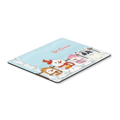 Carolines Treasures BB2342MP Merry Christmas Carolers French Bulldog Piebald Mouse Pad Hot Pad or Trivet