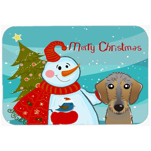 Carolines Treasures BB1853MP Snowman With Wirehaired Dachshund Mouse Pad Hot Pad & Trivet