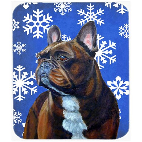 Carolines Treasures LH9295MP French Bulldog Winter Snowflakes Holiday Mouse Pad Hot Pad Or Trivet
