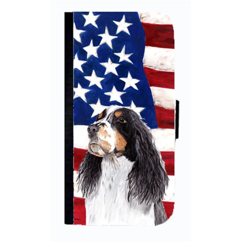 Carolines Treasures SC9016NBGALAXYS4 USA American Flag With Springer Spaniel Cell Phone Case Cover For Galaxy 4S