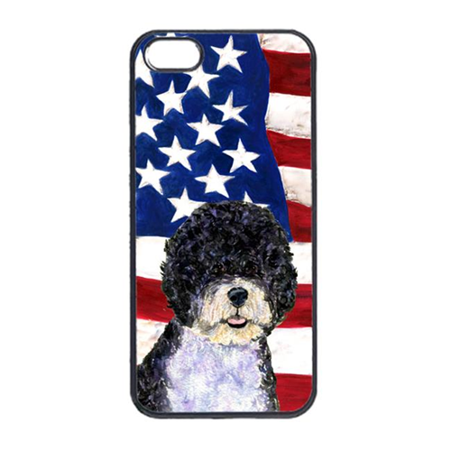 Carolines Treasures SS4053IP4 USA American Flag With Portuguese Water Dog Iphone 4 Cover