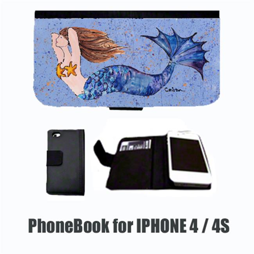 Carolines Treasures 8337-NBIP4 Mermaid Brunette Mermaid Cell Phonebook Cell Phone case Cover for IPHONE 4 or 4S