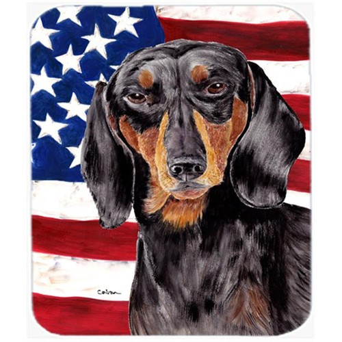 Carolines Treasures SC9003MP Usa American Flag With Dachshund Mouse Pad Hot Pad Or Trivet