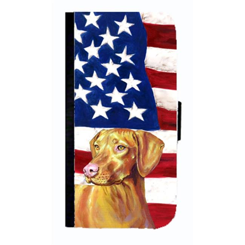 Carolines Treasures LH9012NBGALAXYS4 USA American Flag With Vizsla Cell Phonebook Case Cover For Galaxy 4S