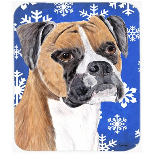 Carolines Treasures SC9390MP Boxer Winter Snowflakes Holiday Mouse Pad Hot Pad Or Trivet